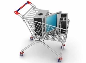 Shopping cart with computers in